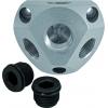 Luftverteilerdose  Alu 15 mm inkl. 2 Stopfen und Einschraubverbinder